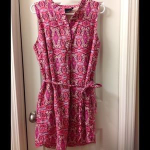 Fun pink button front and tie waist dress